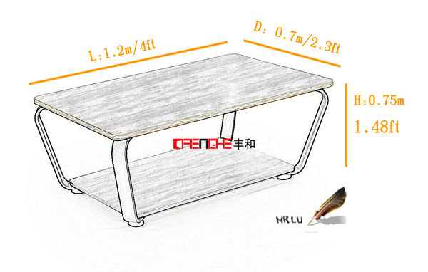 Fenghe-Mfc wooden center table丨Wood White Coffee Tea Table from Fenghe